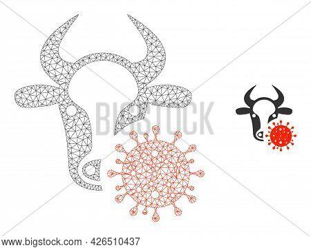 Mesh Cow Coronavirus Model Icon. Wire Frame Triangular Mesh Of Vector Cow Coronavirus Isolated On A