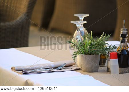 Restaurant With Antiseptic Disinfaction On Table, Protect Of Covid.