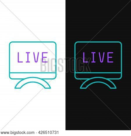 Line Live Report Icon Isolated On White And Black Background. Live News, Hot News. Colorful Outline