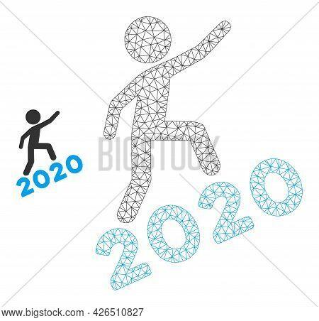 Mesh Man Climbing 2020 Model Icon. Wire Carcass Triangular Mesh Of Vector Man Climbing 2020 Isolated
