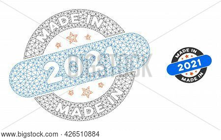 Mesh Made In 2021 Stamp Model Icon. Wire Frame Triangular Mesh Of Vector Made In 2021 Stamp Isolated