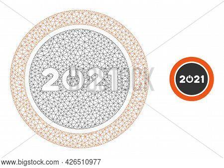 Mesh Start 2021 Round Button Model Icon. Wire Frame Polygonal Mesh Of Vector Start 2021 Round Button