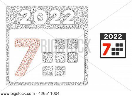 Mesh 2022 Year 7 Days Model Icon. Wire Frame Polygonal Mesh Of Vector 2022 Year 7 Days Isolated On A