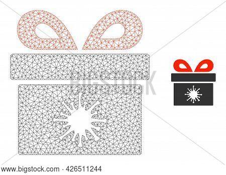 Mesh Virus Pandorra Box Model Icon. Wire Carcass Polygonal Mesh Of Vector Virus Pandorra Box Isolate