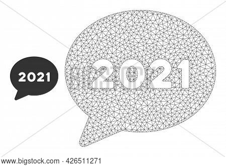 Mesh 2021 Forum Message Model Icon. Wire Carcass Polygonal Mesh Of Vector 2021 Forum Message Isolate