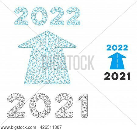 Mesh 2022 Future Road Model Icon. Wire Frame Triangular Mesh Of Vector 2022 Future Road Isolated On