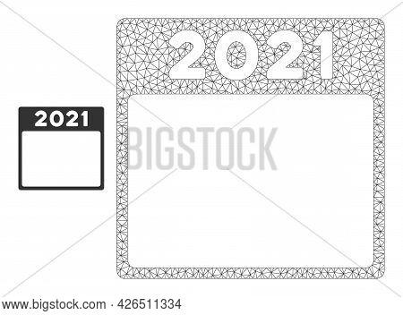 Mesh 2021 Calendar Leaf Model Icon. Wire Frame Polygonal Mesh Of Vector 2021 Calendar Leaf Isolated