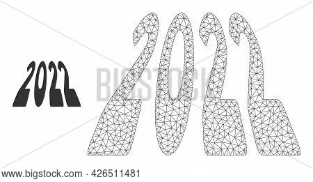 Mesh 2022 Perspective Digits Model Icon. Wire Carcass Triangular Mesh Of Vector 2022 Perspective Dig