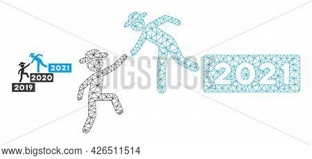 Mesh 2021 Year Guy Help Model Icon. Wire Frame Triangular Mesh Of Vector 2021 Year Guy Help Isolated