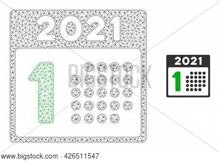 Mesh 2021 Year First Day Model Icon. Wire Carcass Triangular Mesh Of Vector 2021 Year First Day Isol