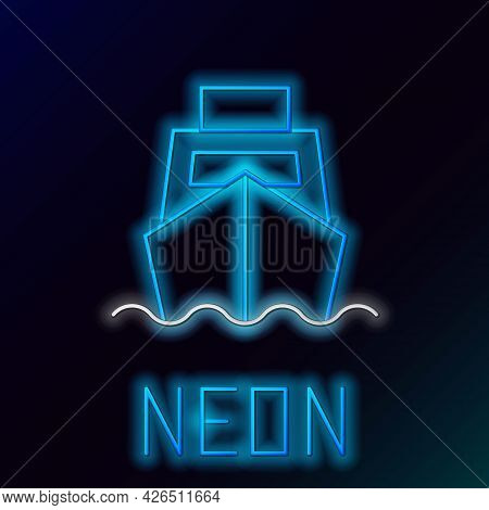 Glowing Neon Line Cargo Ship With Boxes Delivery Service Icon Isolated On Black Background. Delivery