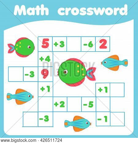 Mathematics Educational Game For Children. Math Crossword Write Missing Numbers. Equations Puzzle Fo