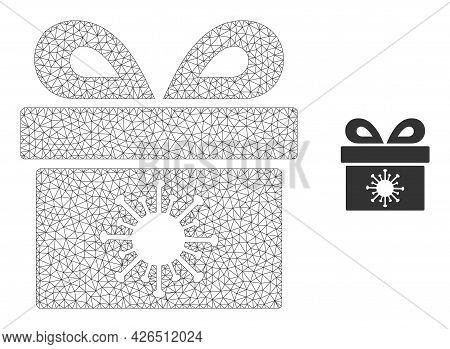 Mesh Coronavirus Surprize Box Model Icon. Wire Carcass Polygonal Mesh Of Vector Coronavirus Surprize