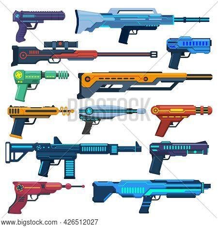 Game Futuristic Blasters. Space Aliens Laser, Space Blasters, Guns And Rifles For Children Playing V