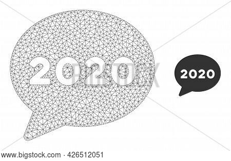 Mesh 2020 Message Cloud Model Icon. Wire Carcass Triangular Mesh Of Vector 2020 Message Cloud Isolat