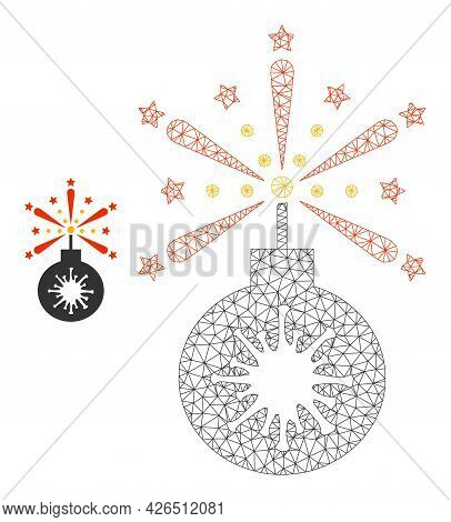 Mesh Virus Petard Model Icon. Wire Carcass Polygonal Mesh Of Vector Virus Petard Isolated On A White
