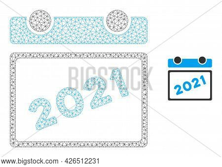 Mesh 2021 Calendar Model Icon. Wire Frame Triangular Mesh Of Vector 2021 Calendar Isolated On A Whit