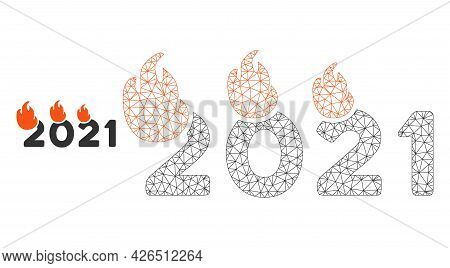 Mesh Fired 2021 Year Model Icon. Wire Frame Polygonal Mesh Of Vector Fired 2021 Year Isolated On A W