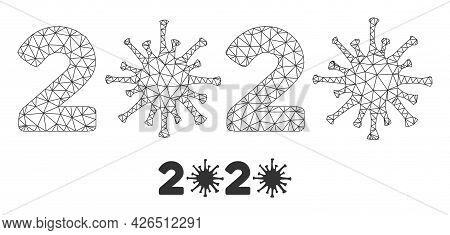 Mesh 2020 Virus Year Model Icon. Wire Frame Polygonal Mesh Of Vector 2020 Virus Year Isolated On A W