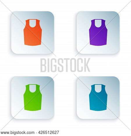 Color Undershirt Icon Isolated On White Background. Set Colorful Icons In Square Buttons. Vector