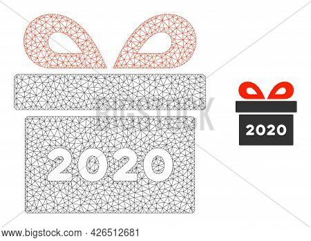 Mesh 2020 Gift Model Icon. Wire Carcass Polygonal Mesh Of Vector 2020 Gift Isolated On A White Backg