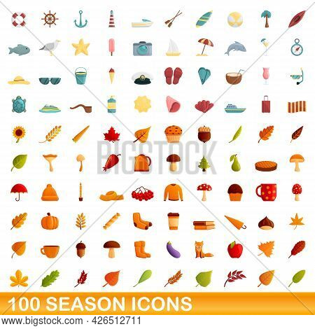 100 Season Icons Set. Cartoon Illustration Of 100 Season Icons Vector Set Isolated On White Backgrou