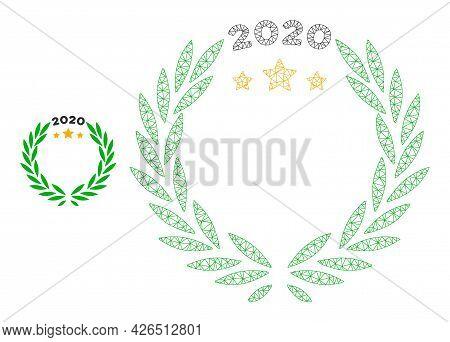 Mesh 2020 Laurel Wreath Model Icon. Wire Carcass Triangular Mesh Of Vector 2020 Laurel Wreath Isolat