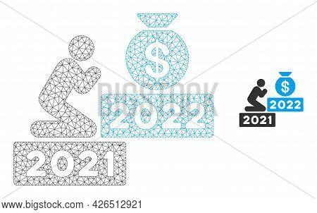 Mesh Pray For Money 2022 Model Icon. Wire Frame Polygonal Mesh Of Vector Pray For Money 2022 Isolate