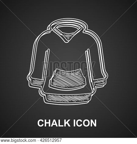 Chalk Hoodie Icon Isolated On Black Background. Hooded Sweatshirt. Vector