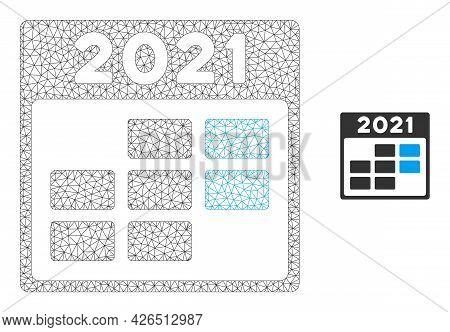 Mesh 2021 Week Calendar Model Icon. Wire Frame Triangular Mesh Of Vector 2021 Week Calendar Isolated