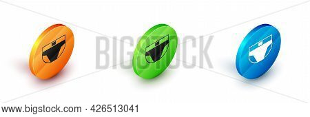Isometric Men Underpants Icon Isolated On White Background. Man Underwear. Circle Button. Vector