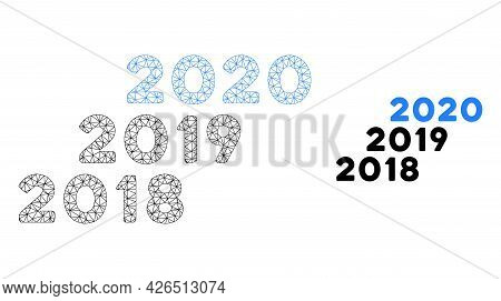 Mesh 2018 - 2020 Years Model Icon. Wire Carcass Triangular Mesh Of Vector 2018 - 2020 Years Isolated