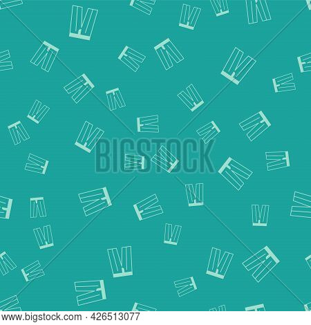 Green Pants Icon Isolated Seamless Pattern On Green Background. Trousers Sign. Vector