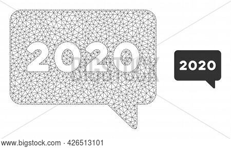 Mesh 2020 Message Model Icon. Wire Frame Polygonal Mesh Of Vector 2020 Message Isolated On A White B