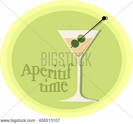 Martini Glass With Olives And With The Words \