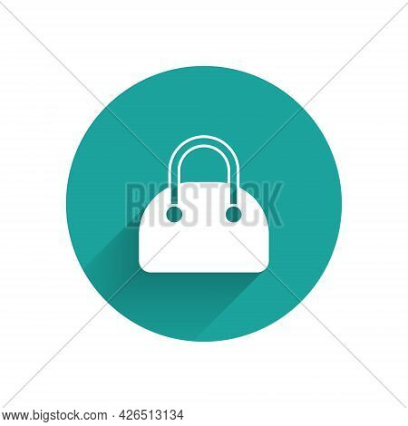White Handbag Icon Isolated With Long Shadow Background. Female Handbag Sign. Glamour Casual Baggage