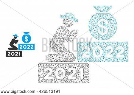 Mesh Gentleman Pray For Money 2022 Model Icon. Wire Carcass Triangular Mesh Of Vector Gentleman Pray