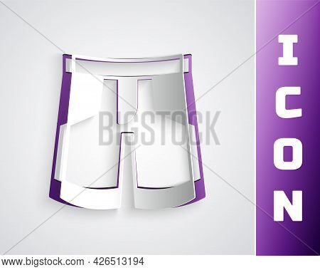 Paper Cut Short Or Pants Icon Isolated On Grey Background. Paper Art Style. Vector