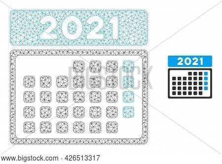 Mesh 2021 Month Calendar Model Icon. Wire Frame Triangular Mesh Of Vector 2021 Month Calendar Isolat