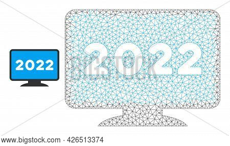 Mesh 2022 Display Screen Model Icon. Wire Carcass Triangular Mesh Of Vector 2022 Display Screen Isol