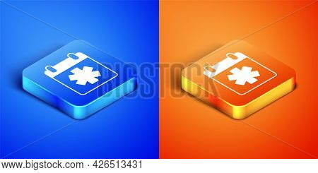 Isometric Doctor Appointment Icon Isolated On Blue And Orange Background. Calendar, Planning Board,