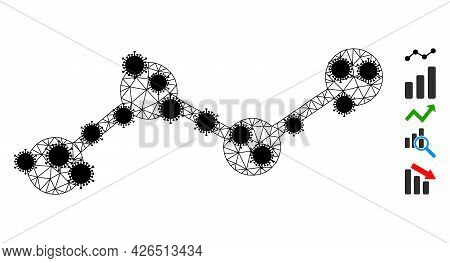 Mesh Chart Polygonal Icon Vector Illustration, With Black Infectious Nodes. Abstraction Is Created F