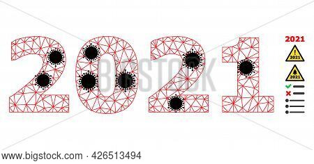 Mesh 2021 Year Digits Polygonal Icon Vector Illustration, With Black Virus Items. Model Is Created F
