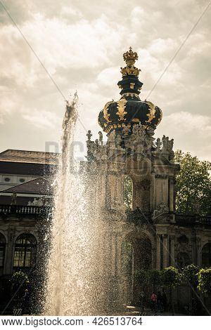 17 May 2019 Dresden, Germany -  The Fountains Of Zwinger, Famous Palace And Museum In Dresden, Germa