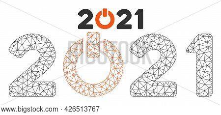 Mesh Start 2021 Caption Model Icon. Wire Frame Triangular Mesh Of Vector Start 2021 Caption Isolated