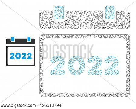 Mesh 2022 Calendar Model Icon. Wire Carcass Triangular Mesh Of Vector 2022 Calendar Isolated On A Wh