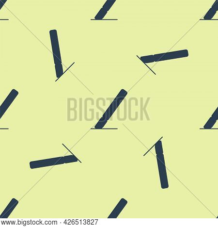 Blue Medical Surgery Scalpel Tool Icon Isolated Seamless Pattern On Yellow Background. Medical Instr