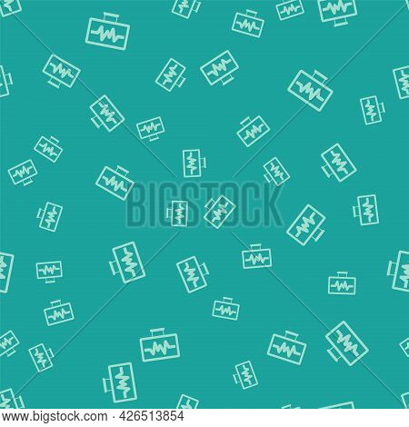 Green Computer Monitor With Cardiogram Icon Isolated Seamless Pattern On Green Background. Monitorin