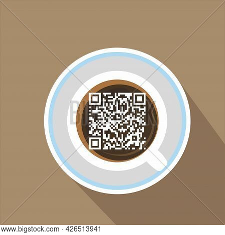 A White Cup Of Coffee On A Saucer With The Qr Vaccination Code. Entrance To The Cafe With The Corona