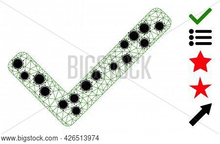 Mesh Accept Tick Polygonal Icon Vector Illustration, With Black Infectious Centers. Abstraction Is B